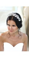 AMARA Silver Leaf Flower Bridal Tiara Wedding Crown