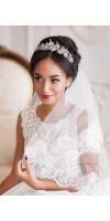 AMARA Silver Leaf Flower Bridal Tiara Wedding Crown