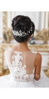 CHRYSANTHE Pearl Flower Wedding Headband With Crystals