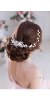 CHRYSANTHE Pearl Flower Wedding Headband With Crystals