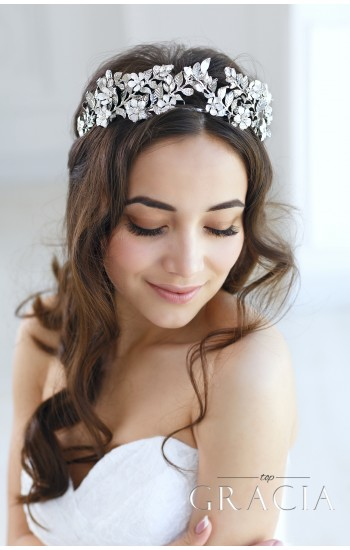 EUNIKE Flower Leaf Bridal Tiara Crown For Wedding With Crystals