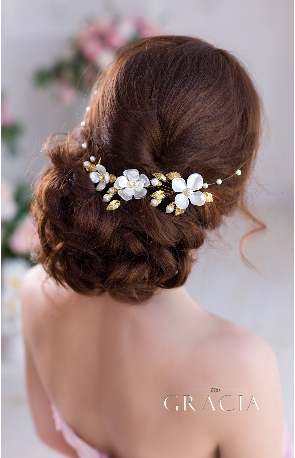 Bridal headbands topgracia handmade bridesmaid bridal hair hermia gold silver pearl flower bridal headband wedding flower crown izmirmasajfo