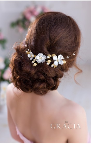 HERMIA Gold Silver Pearl Flower Bridal Headband Wedding flower crown