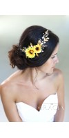 HYPATIA Yellow Sunflower Bridal Headpiece Fall Wedding Flower Crown Autumn Halo