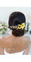 HYPATIA Yellow Sunflower Bridal Headpiece Fall Wedding Flower Crown Autumn Halo