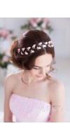 IRIS Grecian Headpiece Silver Gold Leaf And Freshwater Pearl Bridal Tiara Crown