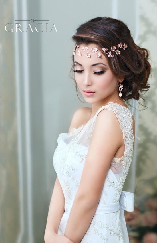 IRIS Grecian Headpiece Silver Gold Leaf And Freshwater Pearl Bridal Tiara Crown