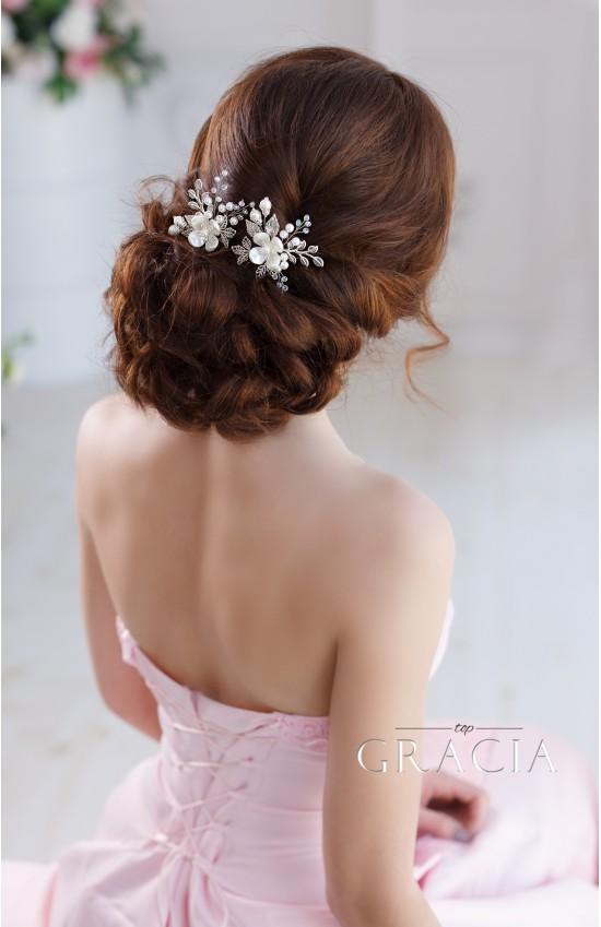 KALLISTO Ivory Flower Pearl Bridal Hair Pins Silver Leaf Hairpins