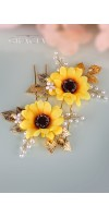 KALLISTRATE Autumn Bridesmaid Sunflower Bridal Hair Pins Fall Wedding Hair Accessories