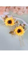 KALLISTRATE Autumn Bridesmaid Sunflower Bridal Hair Pins Fall Wedding Hair Accessories