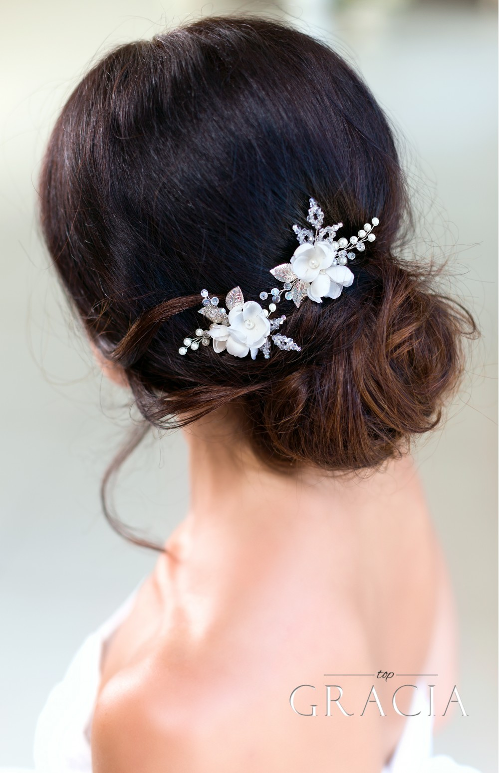 Dionysia white flower bridal hair pins mightylinksfo