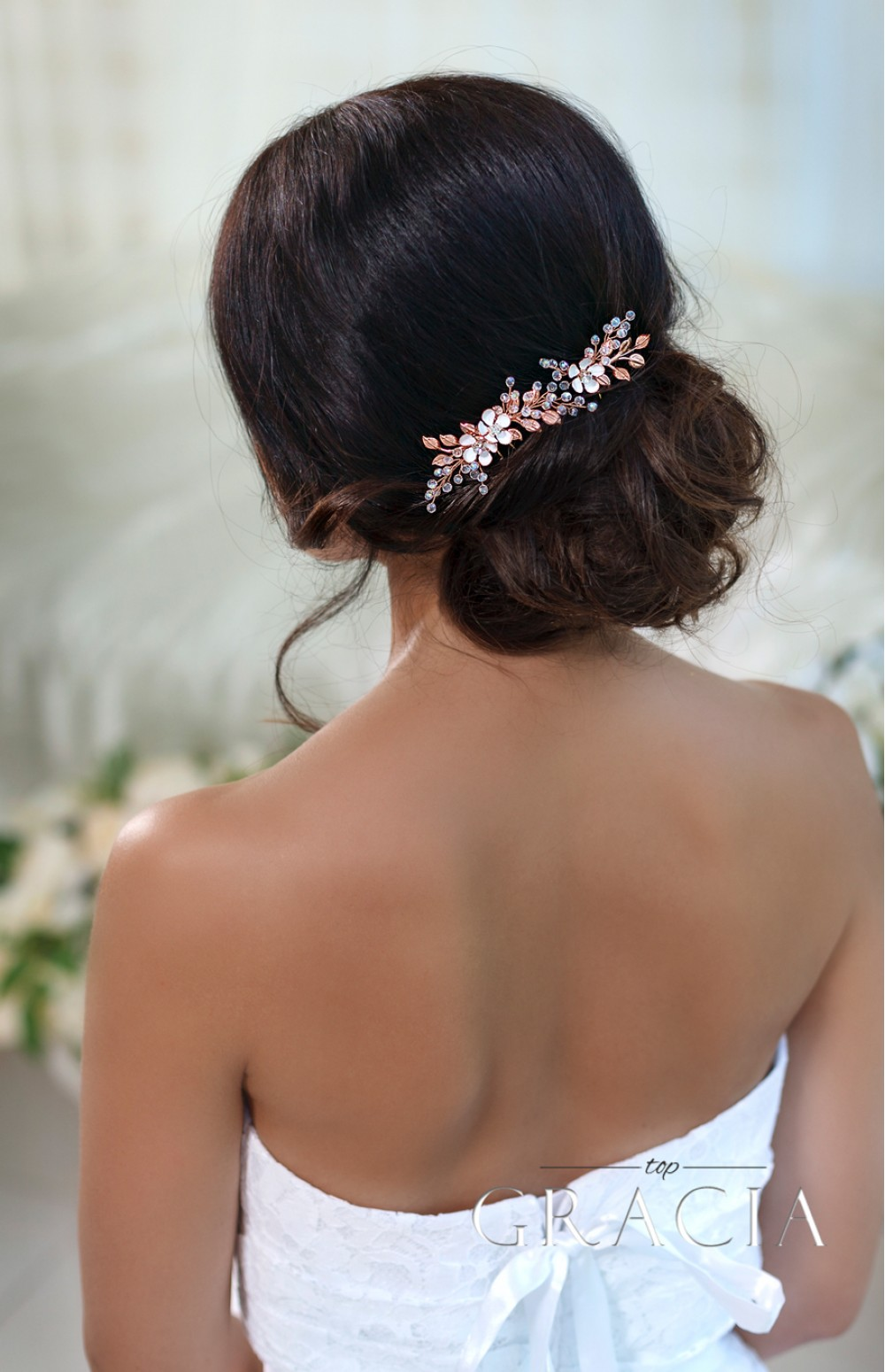 Kandra Rose Gold Wedding Hair Accessories Flower Bridal Pins By Topgracia