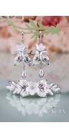 BIA Flower Silver Crystal Bridal Jewelery Set Bracelet and Earrings