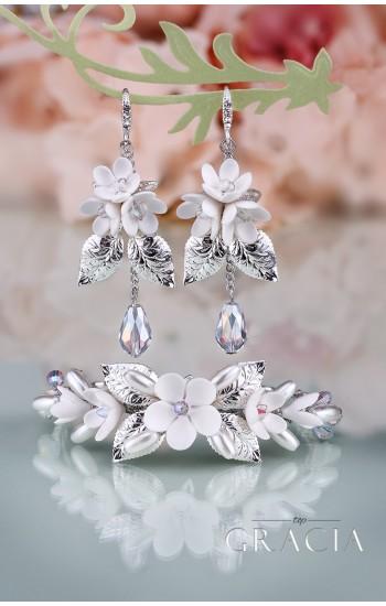 BIA Flower Silver Crystal Bridal Jewelery Set Bracelet and Earrings