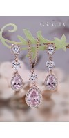 MARIAH Blush Pink Bridal Teardrop CZ Earrings Bridesmaid Gift For Her