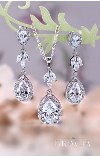 MNEME Cubic Zirconia Silver Crystal Bridal Dangle Earrings