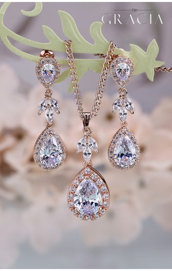 MINTA Cubic Zirconia Rose Gold Crystal Teardrop Bridal Earrings Necklace Wedding Jewelry Bridesmaid Gift