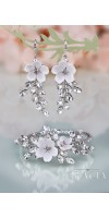 KORINNA Wedding Crystal White Flower Jewelery Set Bridal Earrings And Bracelet