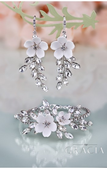 KORINNA Wedding Crystal White Flower Jewelery Set Bridal Earrings And Bracelet
