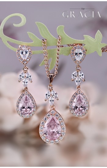MARIAH Blush Pink Bridal Teardrop CZ Earrings Bridesmaid Gift Set For Her