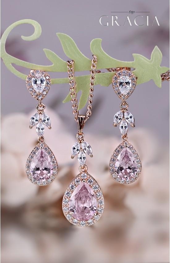 MARIAH Blush Pink Bridal Teardrop CZ Earrings Bridesmaid Gift Set For Her