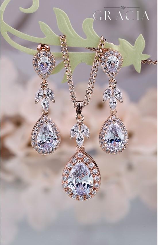 MINTA Cubic Zirconia Rose Gold Crystal Teardrop Bridal Earrings Necklace Wedding Jewelry Bridesmaid Gift