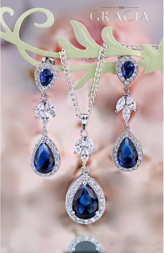 MYRINE Sapphire Blue Jewelry Set Gift Navy Royal Blue Bridal Teardrop Earrings Necklace