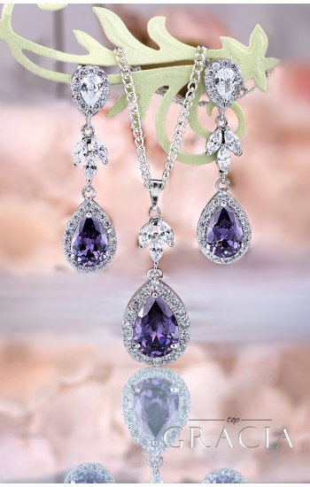 NEPHELE Purple Cubic Zirconium Crystal Bridesmaid Jewelry Set Gift