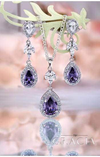 NEPHELE Purple Cubic Zirconium Crystal Bridesmaid Jewelry Set Gift