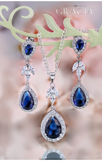 MYRINE Sapphire Blue Jewelry Set Gift Navy Royal Blue Bridal Teardrop Earrings Necklace