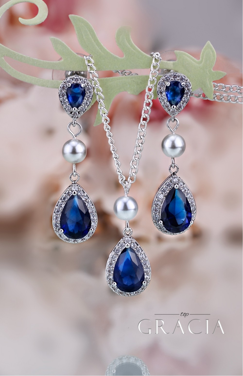 MARIAH Navy Sapphire Bridesmair Gift Blue Bridal Jewelry Set