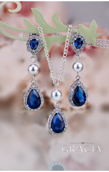 MARIAH Navy Sapphire Bridesmair Gift Blue Bridal Jewelry Set Teardrop Pearl Earrings Necklace