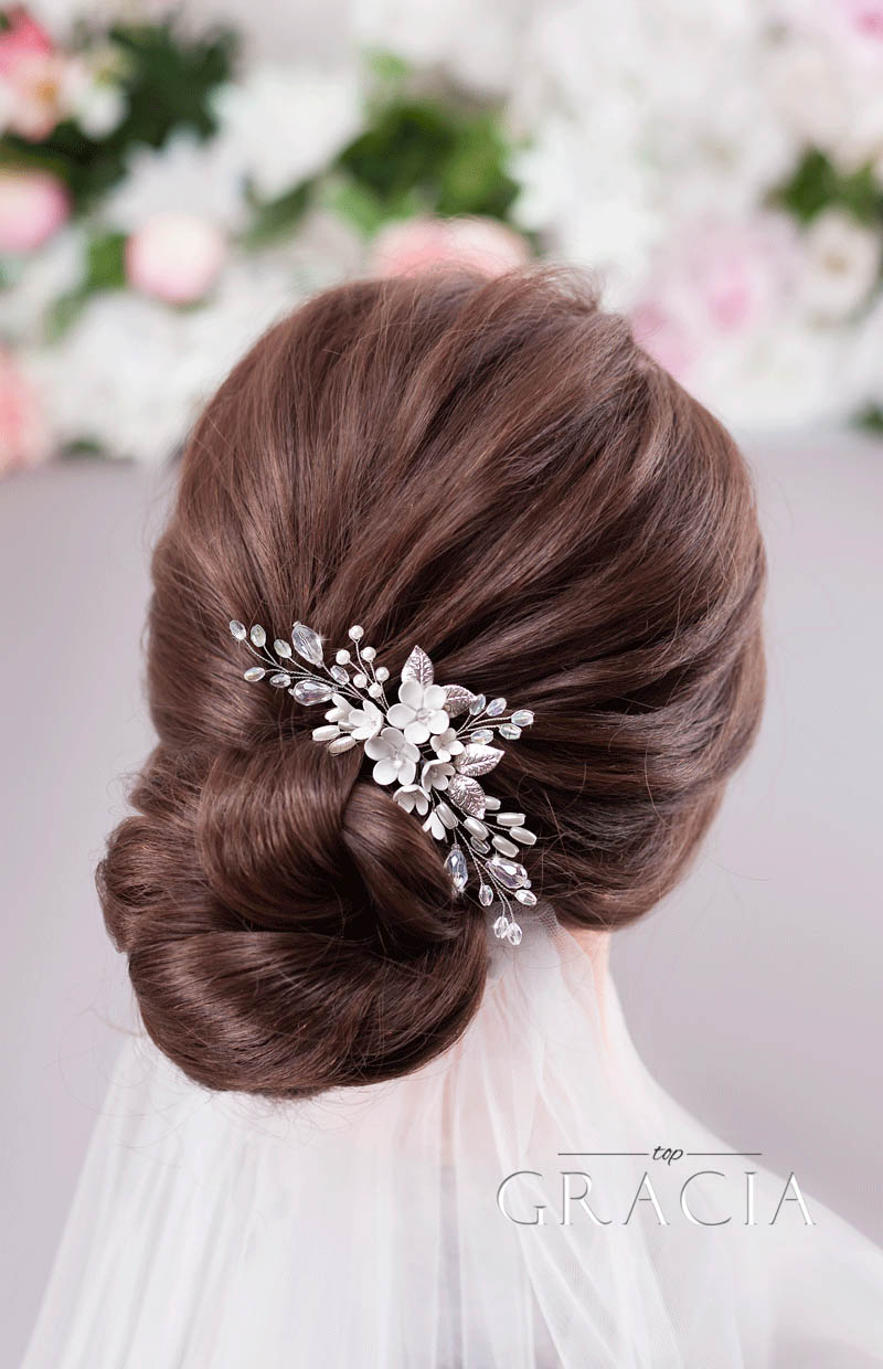 bridal updo with hairpiece
