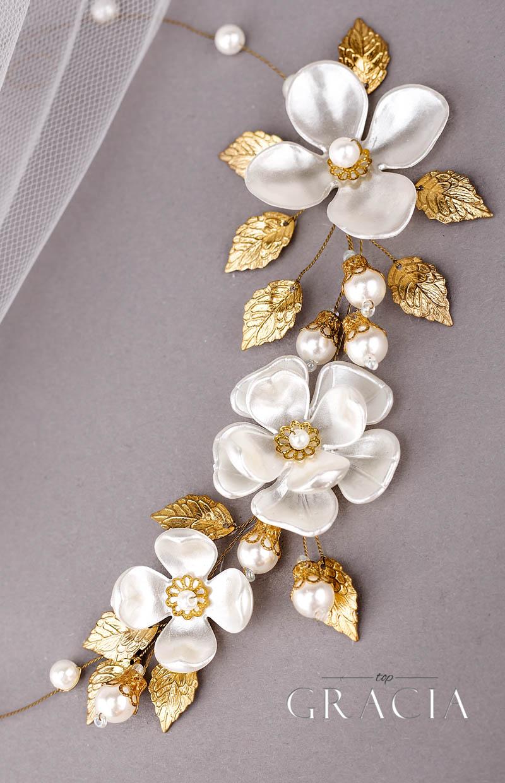 gold bridal hair piece
