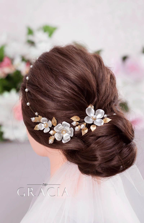 gold wedding flower crown
