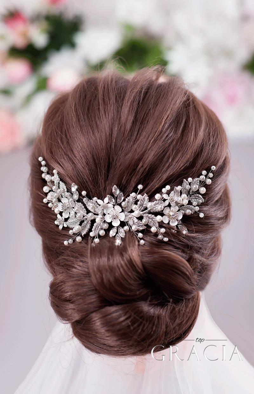 wedding updo with headpiece