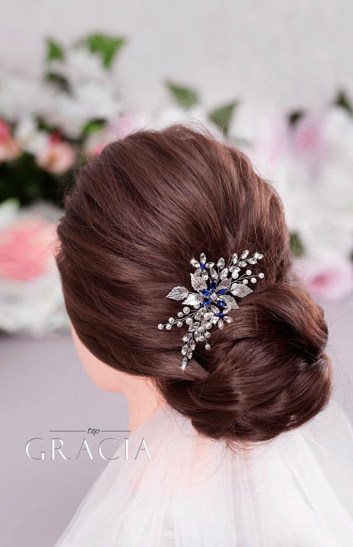 something blue wedding hairpiece