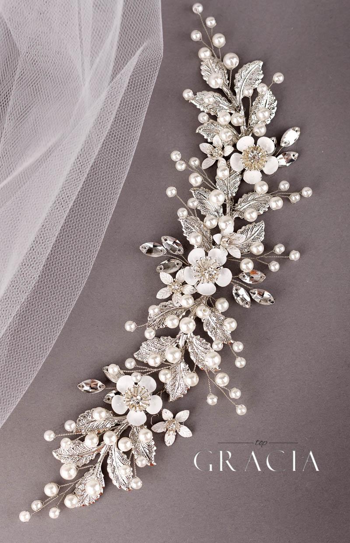 silver wedding headpiece