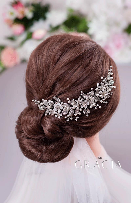 silver leaf wedding hair piece
