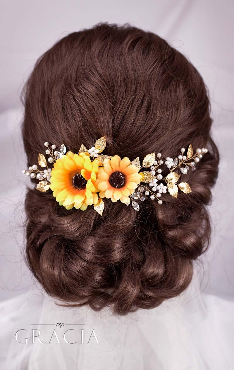 sunflower bridal flower hairpiece fall wedding