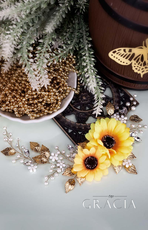 sunflower bridal flower hairpiece