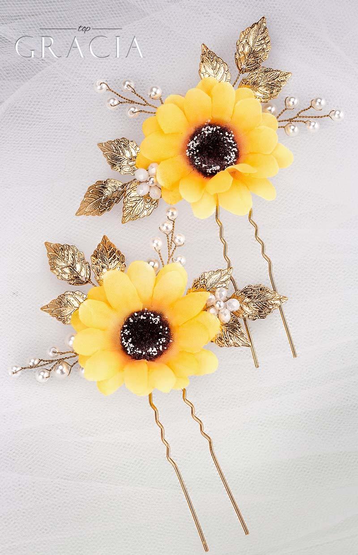 sunflower hair clip wedding bridesmaid