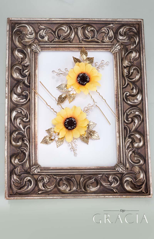 sunflower hair clip