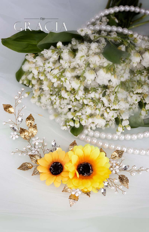 sunflower wedding hairpiece fall wedding