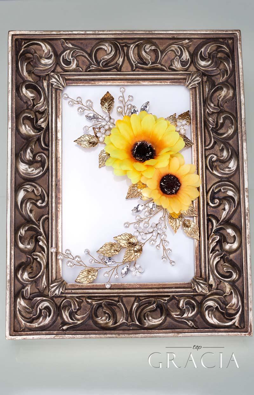 sunflower wedding hairpiece