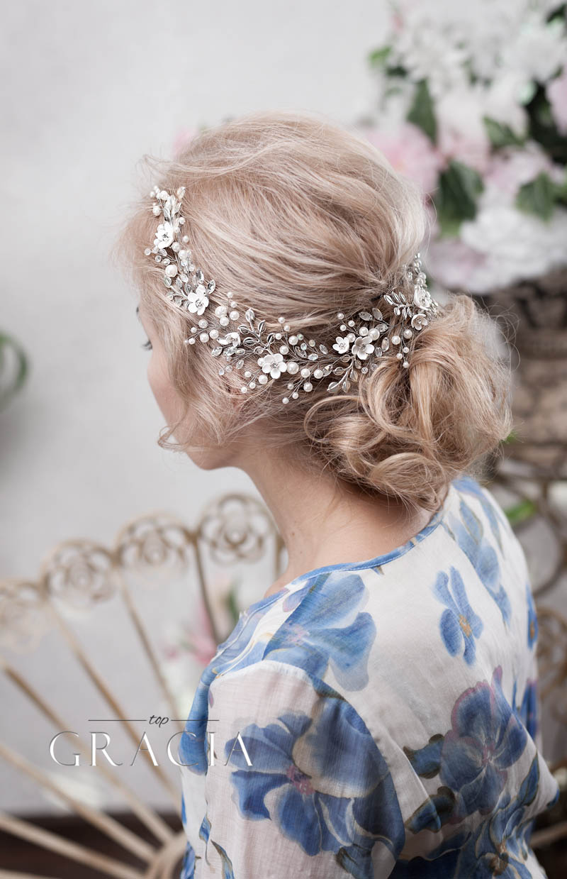 flower leaf grecian wedding headband