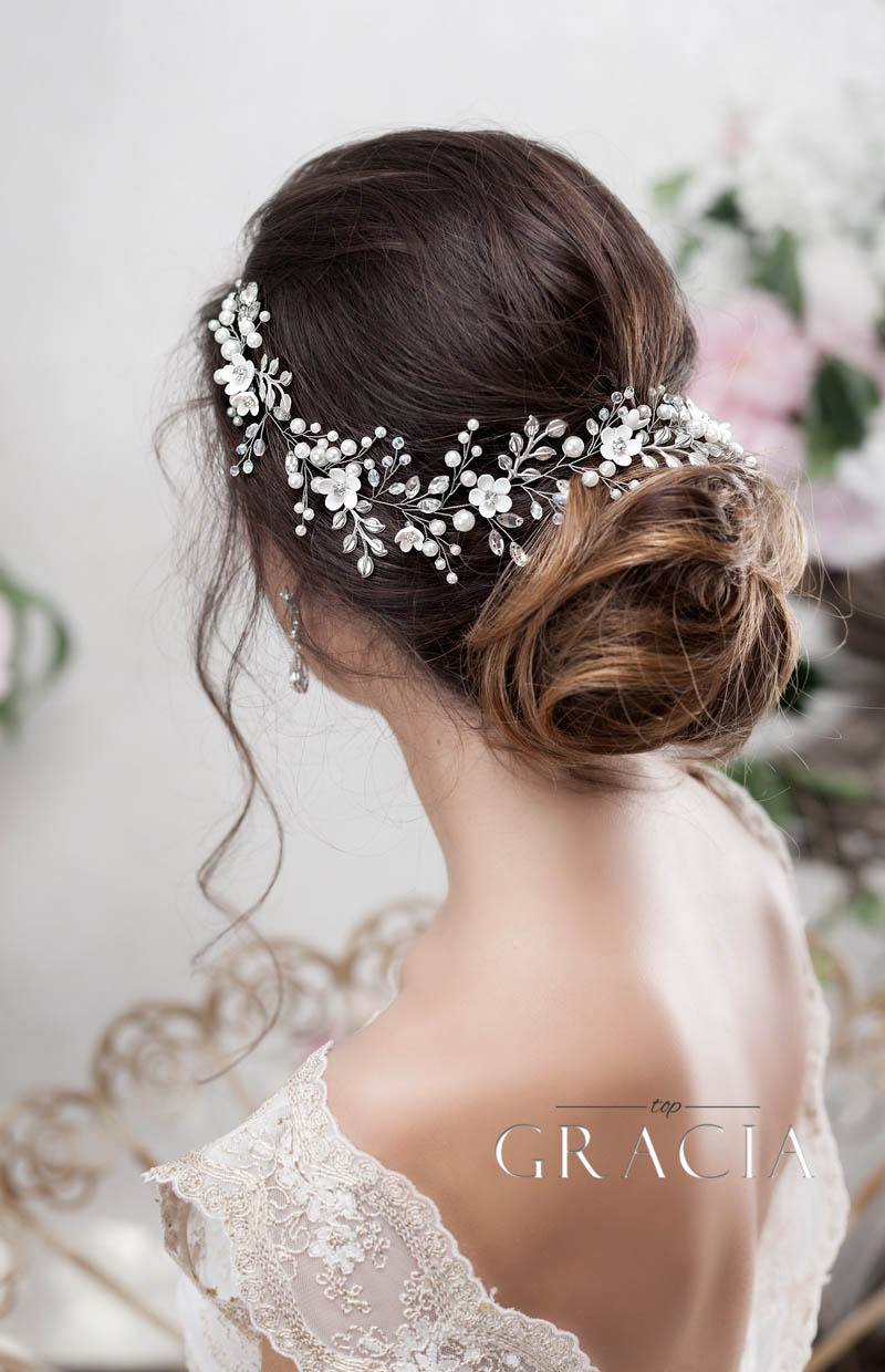 flower silver long hair vine for bridal updo