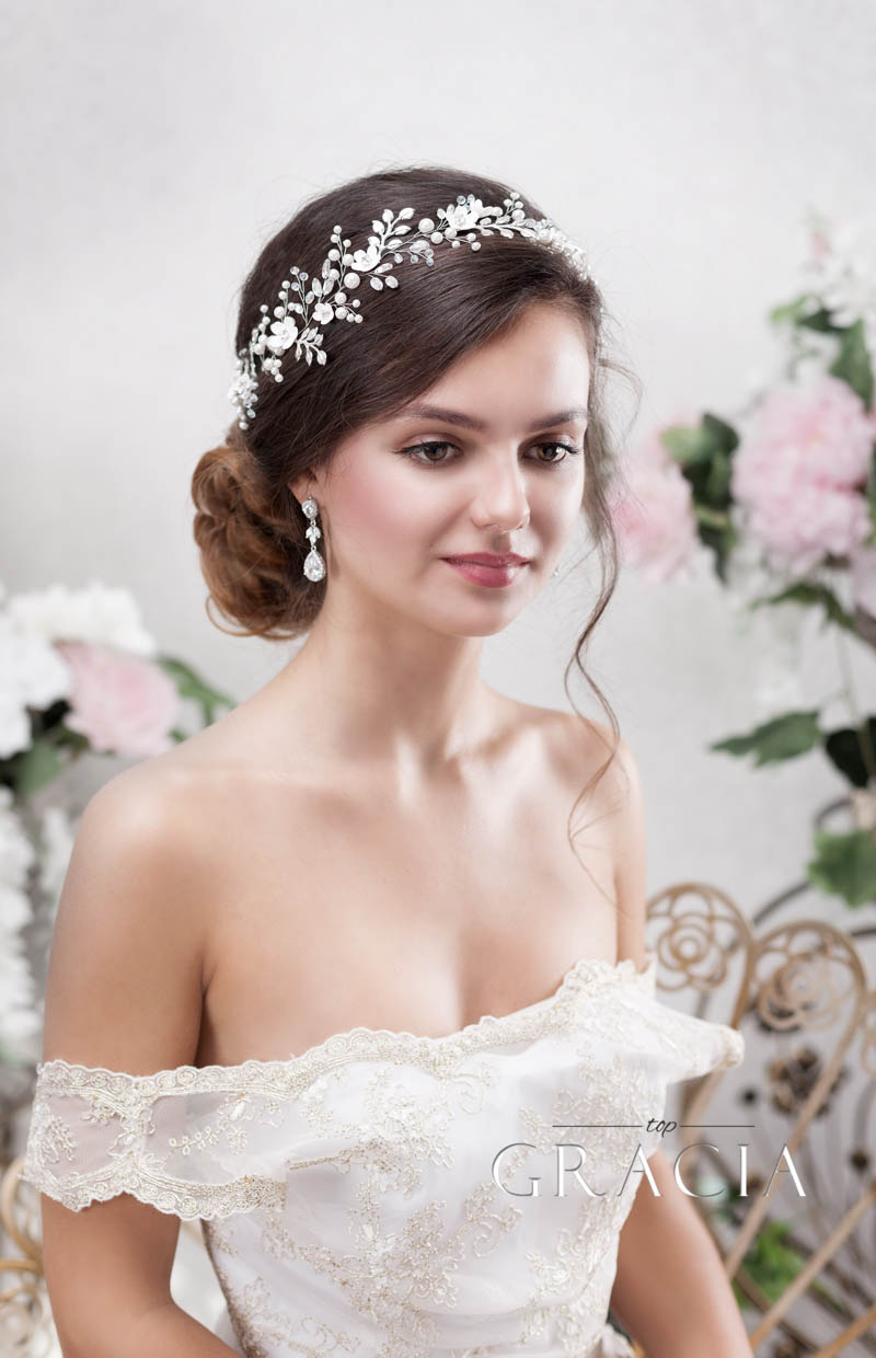silver wedding floral hair vine