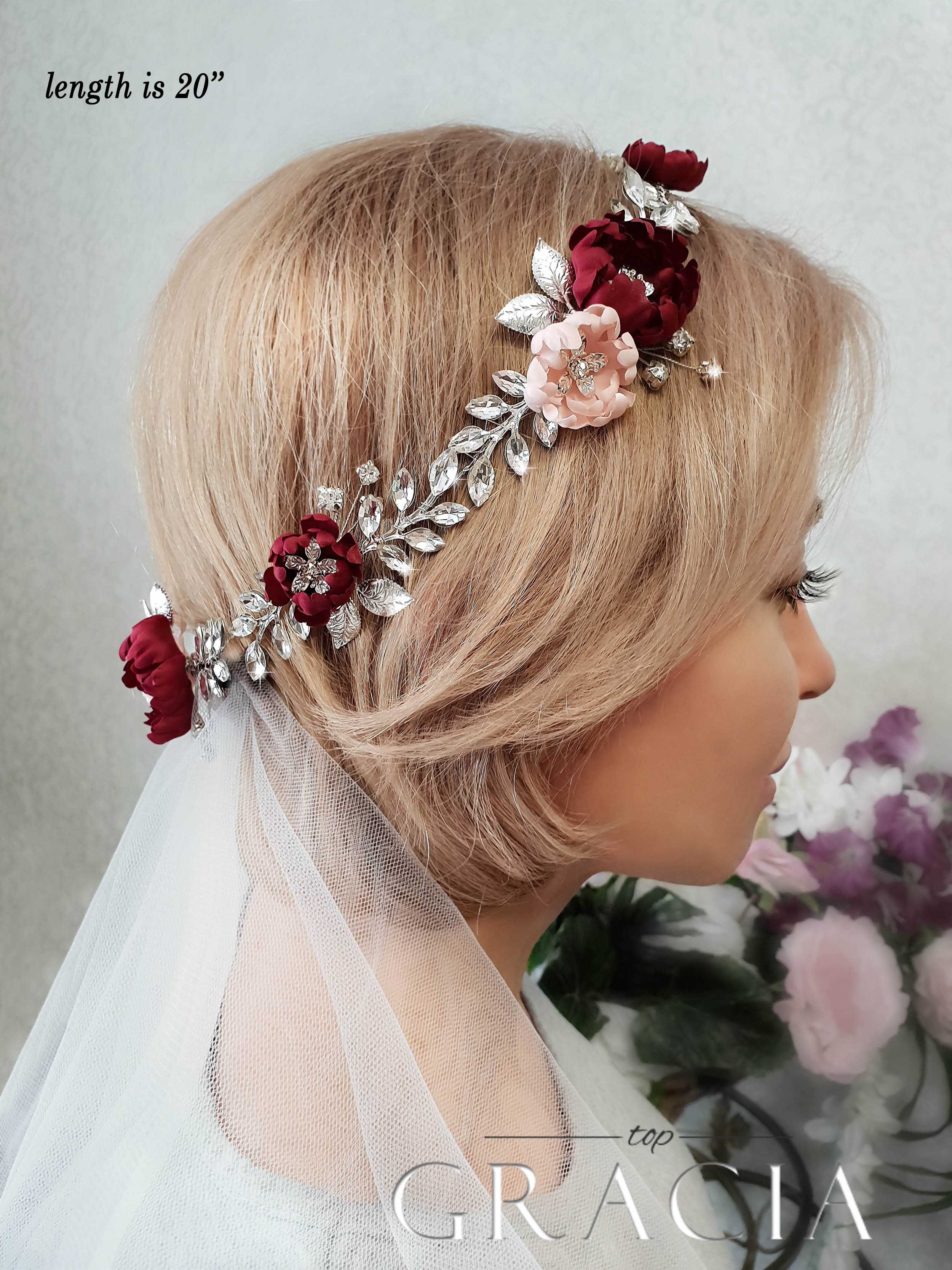 Burgundy hairpiece