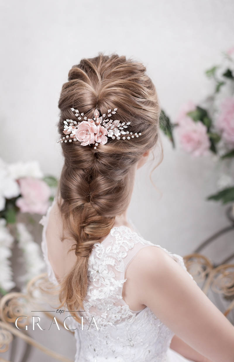 blush bridal hair accessories with crystal in rose gold